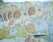Vintage Set of Hallmark Stationery. Easter Bunny Rabbit. 4 Cards, 4 Note Cutouts and 8 Envelopes.