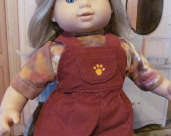 Tie dye Shirt,  Corduroy Overalls, 15 inch Doll Clothes