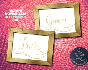 PRINTABLE Gold Bride Groom Sign Calligraphy Instant Download DIY Wedding  Decor Signage Table Setting Rustic Modern