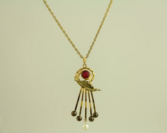 1930's Red Stone Pearl Pendant Gold Filled Necklace - Chain is gold plated (ET469 )