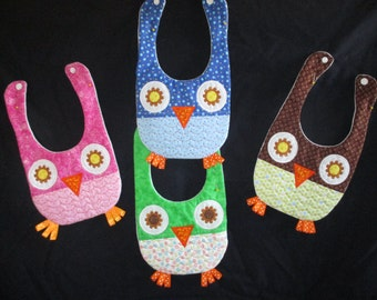Adorable Owl Baby Bibs with Dotted Orange Ribbon Feet