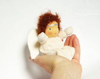 Guardian Angel Doll, Waldorf Inspired Doll , Waldorf Angel 6in soft toy by Atelier Lavendel, gift for a boy, ECO friendly
