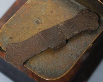 Antique brass plate, connector, finding, embellishment. Original dark patina.