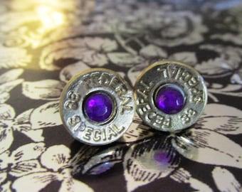 38 Special bullet stud earrings with purple rhinestones