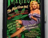 Marijuana Humor  Black Metal Wallet Cigarette Case  No. 1015