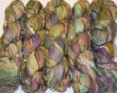 Recycled Sari Silk Ribbon Yarn Green Purple multi color, 65 yards,  3.5 oz / 100 grams
