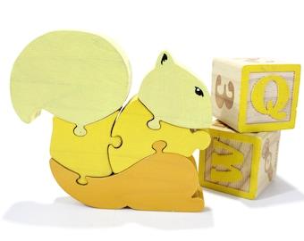 Handmade Yellow Squirrel Puzzle – Squirrel Decoration – Children's Toy