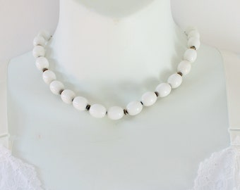 SALE 20 PERCENT OFF Vintage Signed Monet White Silvertone Smooth Oval Silver Tone Lucite Beaded Adjustable Length Necklace