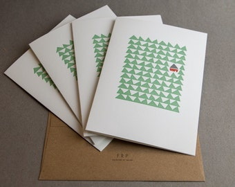 Four (4) Cottage in the Woods Letterpress Cards