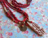 Red Beaded Gemstone Nature Inspired Multistrand Long Boho Chic Polymer Clay Pendant Red Coral Jasper Extra Long Necklace