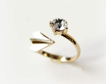 Paper airplane and CZ Ring / gold airplane ring, adjustable ring