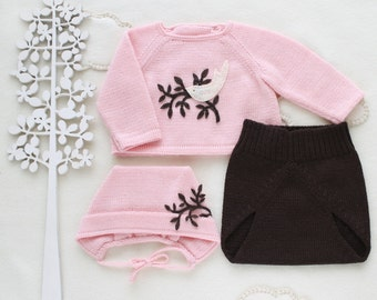 Knit baby set. Sweater, diaper cover, cap. Pink and brown. Felt bird. 100% Merino. READY TO SHIP size Preemie.