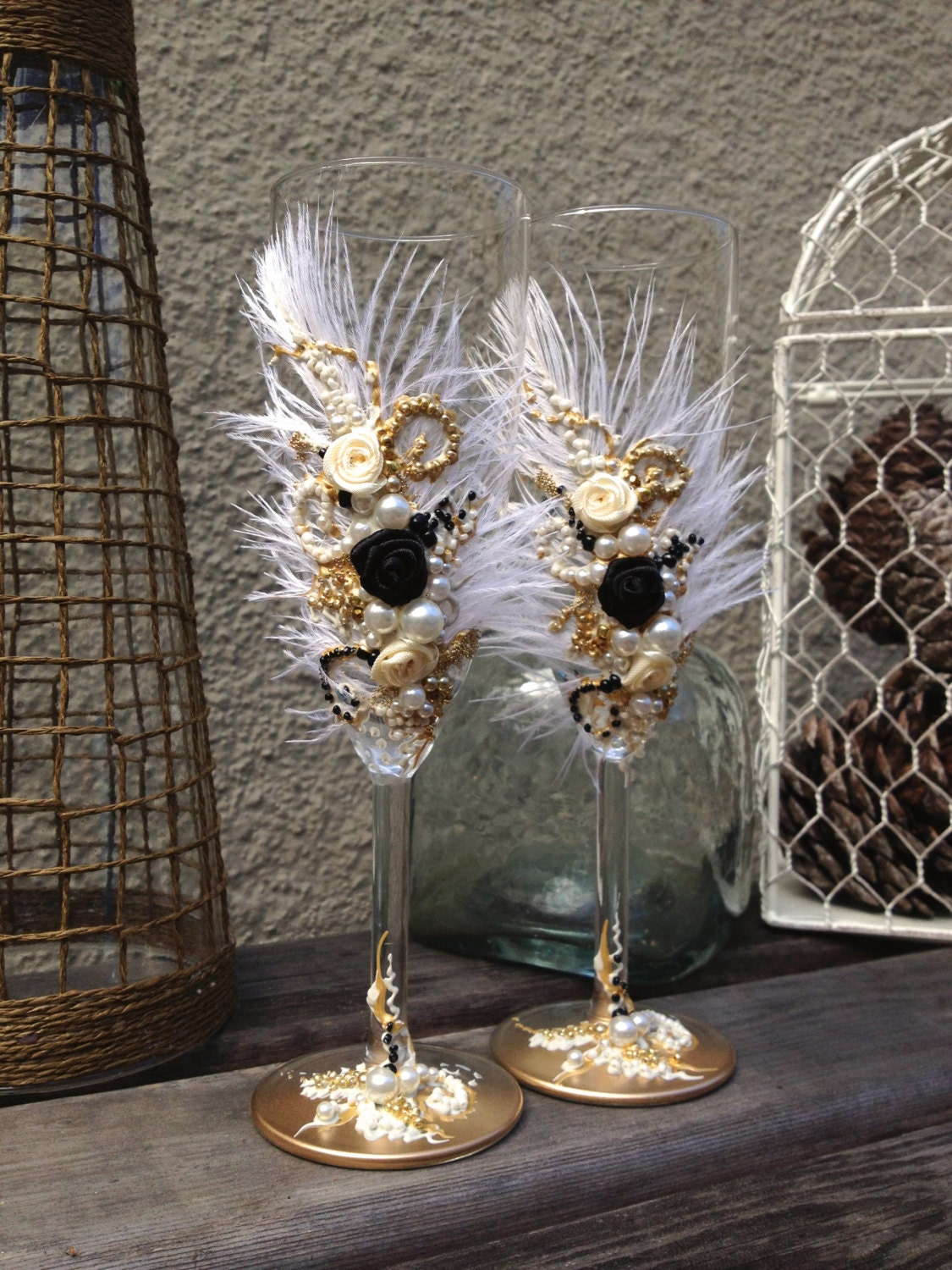 Kitchen Tea Ideas Themes Great Gatsby Wedding Champagne Glasses With Ostrich Feathers