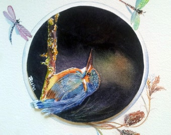 Original watercolor of kingfisher bird, gift for birdlover, gift for dad,