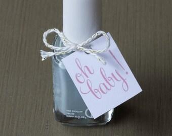 Baby Shower Favors - Nail Polish Favor Tags - set of 12