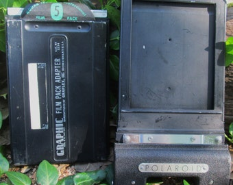 Vintage Graflex Graphic Film Pack Adapter and Polaroid Land Film Holder #500.  G-238