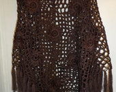 Crochet lace chocolate brown hippie boho bohemian poncho wrap shawl  with flowers and fringe