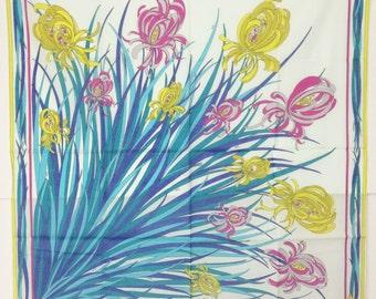 Emilio Pucci vintage iris pink, yellow & blue large cotton scarf, 1973