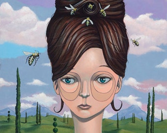 QUEEN BEE, bees, beehive, hair, pop surrealism, lowbrow, art, new contemporary, modern art, retro, street art, urban art, beautiful woman