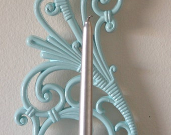 Vintage 1970's DART Ind Turquoise ~ Pale Blue ~ Candle Holder Hanging Wall Sconce
