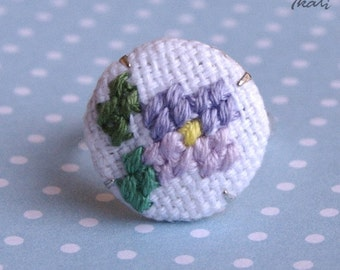 Small Flower - Adjustable CROSS STITCH ring - embroidered ring