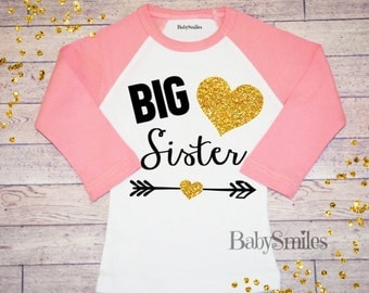 Big Sister Shirt Little Sister Shirt Personalized Shirt Sibling Shirts Baby Announcement Shirt Pregnancy Announcement Gold Glitter Shirt 123
