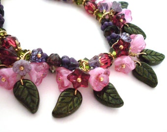 Flower bead charm bracelet, Czech glass posies, crystal and glass, gold wire wrapped, purple red pink, garden bracelet, flower bead jewelry