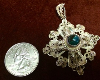 Ornate Filigree Jerusalem cross pendant with Elat Stone