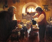 Lord of the Rings LOTR inspired fine art print of my original oil painting, Gandalf and Bilbo Having Tea. Signed by the artist