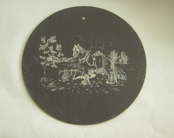 Vintage Slate Wall Hanging with Printed Shire Horse, Cart, Field,Farm Countryside  Printed /PaintedImage
