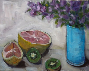 Oil Painting Still Life - Lavender Flowers - fruit - Modern Art - original Fine Art Wall Decor - Impressionist flowers garden painting