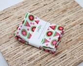 Small Cloth Napkins - Set of 4 - (N2824s) - Watermelon Fruit Modern Reusable Fabric Napkins