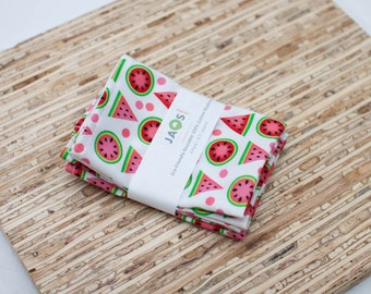 Small Cloth Napkins - Set of 4 - (N2824s) - Watermelon Fruit Modern Reusable Fabric Napkins