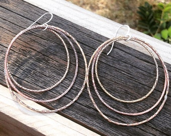 Big Textured Oval Copper and Brass Earrings