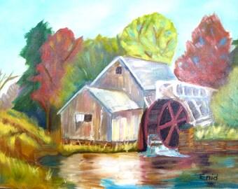 VINTAGE MILLPOND PAINTING/ Primitive Landscape Original Painting