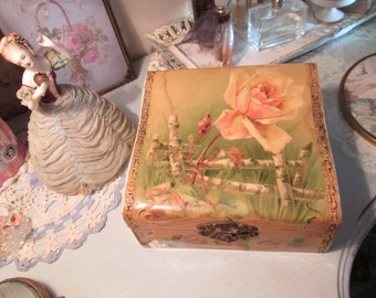 celluloid hanky glove jewelry box pink rose shabby chic boudoir vanity box