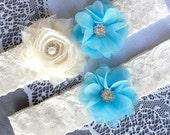 Wedding Garter Set Bridal Garter Set LIGHT BLUE Lace Garter Set Ivory Rhinestone Crystal Lace Garter Beach Wedding GR123LX