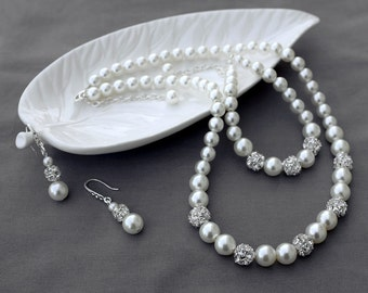 Bridal Pearl Rhinestone Necklace Bracelet Earring Jewelry Set Crystal Wedding Jewelry Set White or Ivory Pearl ST006LX