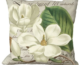 Magnolia Blossoms on French Script Choice of 14x14 16x16 18x18 20x20 22x22 24x24 26x26 inch Pillow Cover