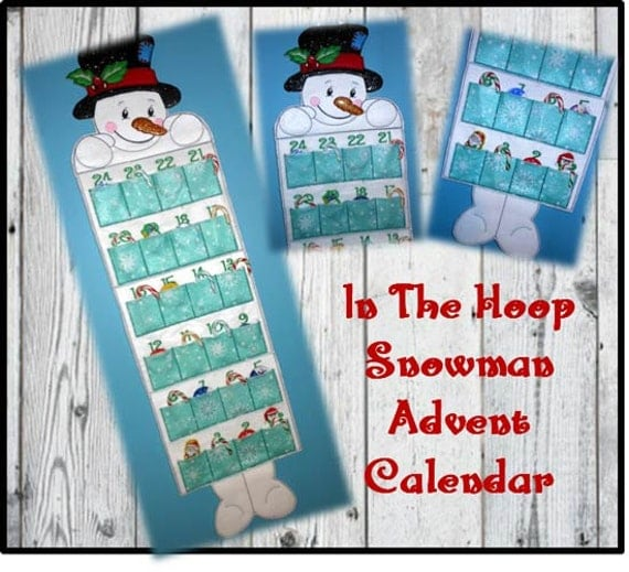 Calendar Embroidery Design : In the hoop snowman advent calendar embroidery machine design