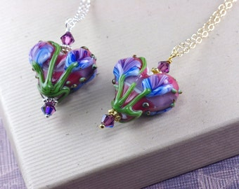 Lamp work heart bead necklace, lampwork bead Valentine's day, sterling silver or gold filled, handmade glass heart, gift for her N187