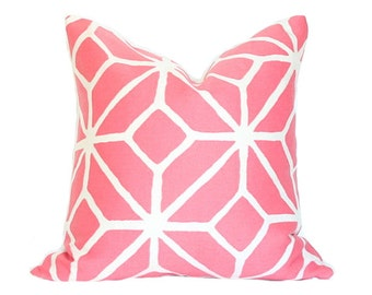 Trellis Print in Watermelon Pillow Cover (Single-Sided) - Made-to-Order