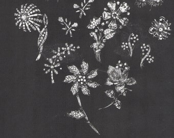 1966 DE BEERS Diamonds Ad - Diamond Flower Pins & Earrings - Black and White Magazine Print Ad - Jewelry Wall Art
