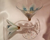 Hand painted white lily martini glasses
