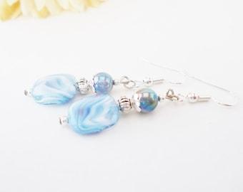 Blue Dangle Earrings, Bridal Earrings, Beaded Earrings, Bridesmaids Earrings, Sky Blue Earrings, Czech Glass Earrings, Light Blue Earrings