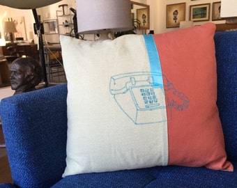 "60% off clearance: PHONE embroidered pillow 18""x18"""