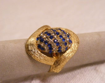 Vintage Adjustable Dome Ring, Sapphire Blue and Clear Rhinestones, Costume Ring