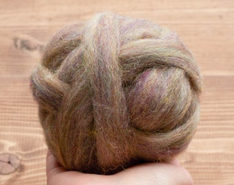 Wool Roving Supply in River Stone, Needle Felting Wool, Wet Felting, Spinning, Dyed Felting Wool, Rainbow Grey, Fiber Art Supplies