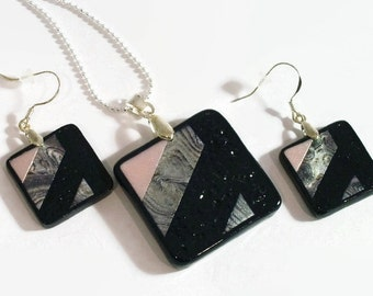 OOAK SET Square Shaped Pendant - Silver Plate, pearlescent pinks, greys, navy - No. 341