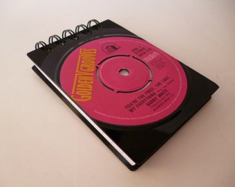 Notepad BARRY WHITE Record Notebook Handmade Recycled Vintage Vinyl  Pink 1970s Disco Walrus of Love